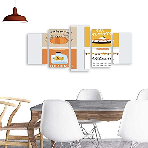 UHOO 5 Piece Wall Art Painting PrintThanksgiving Cards Autumn Fall Design with Pumpkin Pie Leaves odern Decoration Living Room -