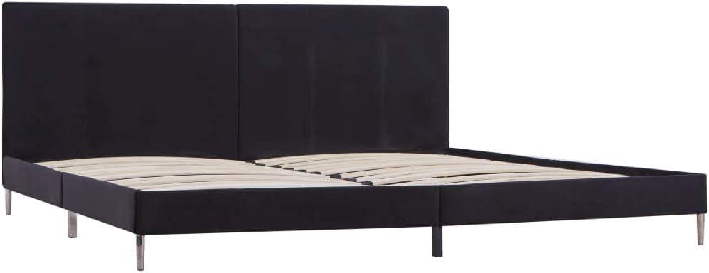 vidaXL Cama Matrimonio Estructura Metal Hierro + Somier Láminas + Cabecero Tapizada Tela para Colchón 180x200 cm No Incluido MDF Patas Metálicas Negro