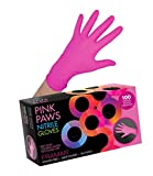 Framar Pink Paws Nitrile Gloves, Powder Free, Latex Rubber Free, Disposable Gloves – Non Sterile, Food Safe, Medical Grade, Convenient Dispenser Pack of 100, (Extra Strength) Size Large