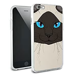 Siamese Cat Face - Pet Kitty Burmese Himalayan Seal Point Protective Slim Hybrid Rubber Bumper Case for Apple iPhone 6 6s Plus