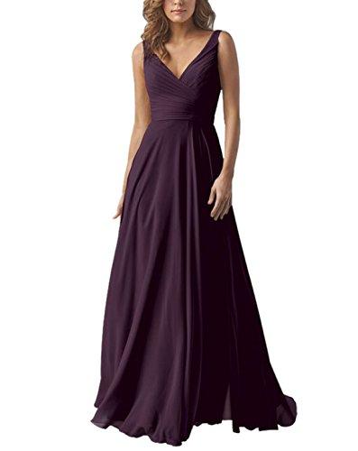 Yilis Double V Neck Elegant Long Bridesmaid Dress Chiffon Wedding Evening Dress Grape US6 (Dress Amethyst Wedding)