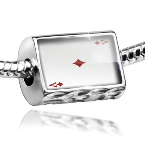 NEONBLOND Charm Ace of Diamonds - Ace/card game - Bead Fit All European Bracelets, Neo