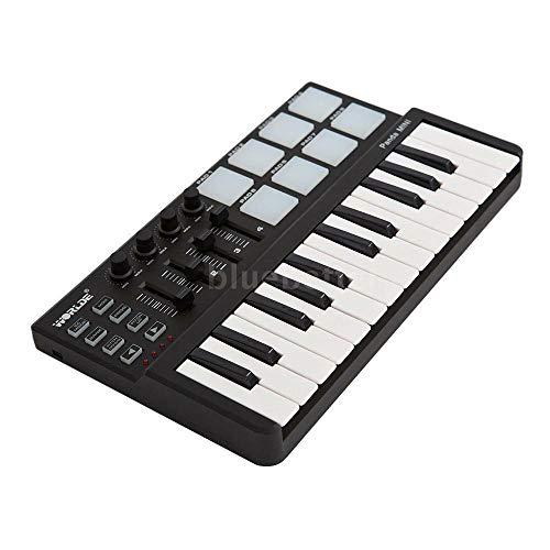 VAM ML Portable 25 Keys USB Keyboard and Drum Pad MIDI Controller I9Y8 | Black