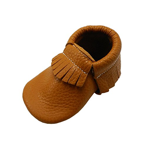 YIHAKIDS Baby Tassel Shoes Soft Leather Sole Infant Shoes Baby Moccasins Crib Shoes Dark Orange(size 9.5,24-36 (24 Baby Footwear Boots)