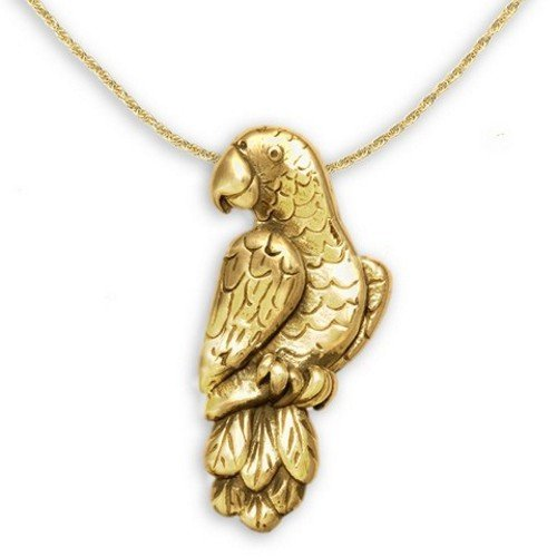 14k Gold African Grey Parrot Pin Pendant by The Magic Zoo