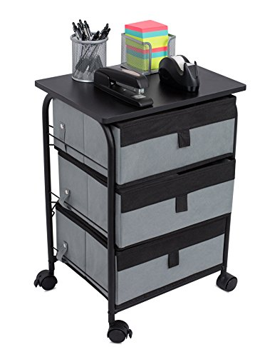 Internet's Best 3 Drawer Storage Rolling Cart | 3 Removable Fabric Shelves | Heavy Duty Side End Table & Night Stand | Organizer | Grey by Internet's Best