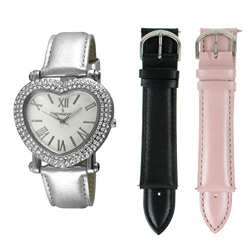 Heart Shaped Crystal Watches - Peugeot Women's Heart Shaped Interchangeable Crystal Set Watch