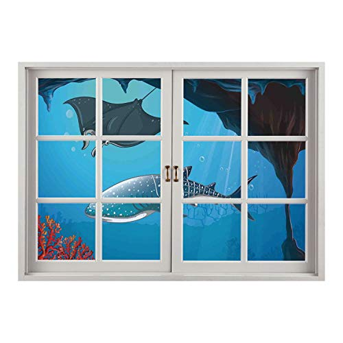 (SCOCICI Wall Mural, Removable Sticker, Home Décor/Sea Animal Decor,Shark Deep Water Stingray with Coral Reefs Algae Rocky Cave Exotic Cartoon,Blue Grey/Wall Sticker Mural)