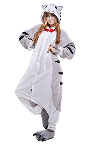 PECHASE Halloween Adult Pajamas Sleepwear Animal Cosplay Costume (M, Cheese Cat)