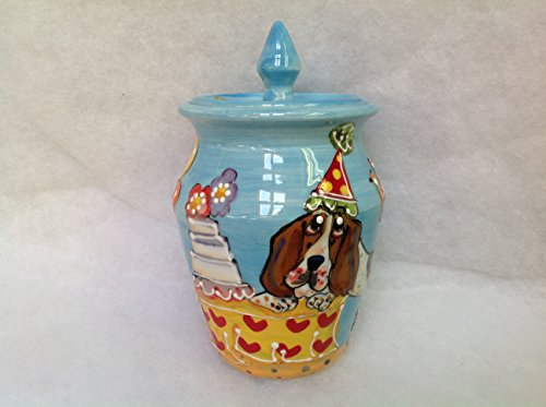 Basset Hound Treat Jar/Cookie Jar. Personalized at no Charge. Signed by Artist, Debby Carman. (Hound Treat Jar)