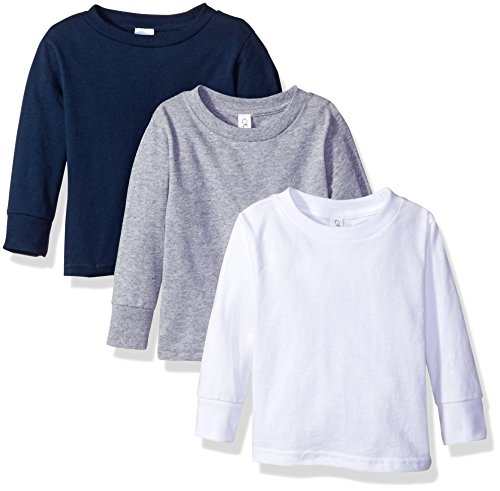 Girls Tops Com (Clementine Apparel Girls' Little Toddler Long Sleeve Basic T-Shirt Three-Pack, White, Grey, Navy,)