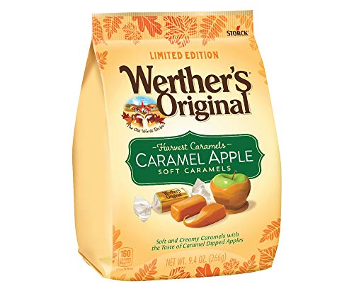 Werther's Original (1) Bag Harvest Caramels Soft Caramels - Caramel Apple Flavored - Soft and Creamy Individually Wrapped Limited Edition Halloween/Fall Candy Net Wt. 9.4