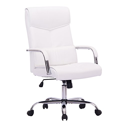 Sidanli Mid-Back Ergonomic Executive Home Office PU Chair, Swivel Desk Chair with Back Lumbar,Heavy Duty Computer Task Chair with Chrome Base and Armrests (White) by Sidanli