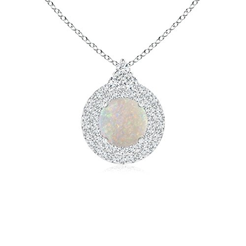Angara Round Opal and Diamond Double Halo Pendant QEt4Jt