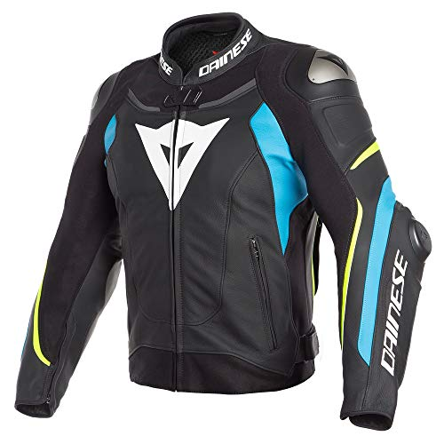 Price comparison product image Dainese Super Speed 3 Mens Leather Jacket Black / Fire Blue / Fluo Yellow 60 EUR / 50 USA
