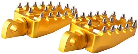 Gold Goldfire Offroad Wide Motorcycle Fat Foot Pegs Pedals Motor-mh 360/° Roating Foot Pedals Footpegs Rests Suit for Harley Davidson Dyna Sportster Bobber
