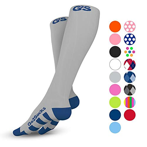 Go2Socks Compression Socks for Men Women Nurses Runners 20-30 mmHg (high) - Medical Stocking Maternity Travel - Bet Performance Recovery Circulation Stamina - ()