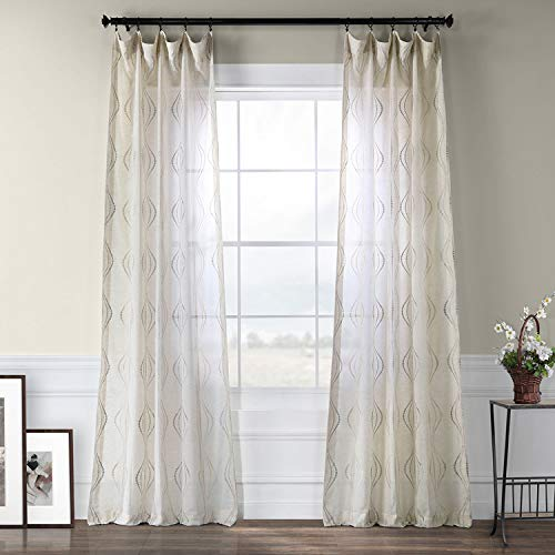 Half Price Drapes SHCH-SLWE5294-96 Embroidered Faux Linen Sheer Curtain, Suez Natural