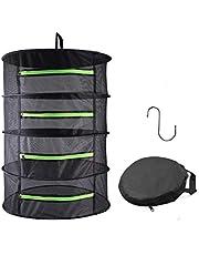 HYDGOOHO Herb Drying Rack Net Dryer 4 Layer 2ft Black W/Green Zippers Mesh Hydroponics