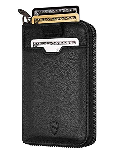 (Vaultskin NOTTING HILL Slim Zip Wallet with RFID Protection for Cards Cash Coins (Black))