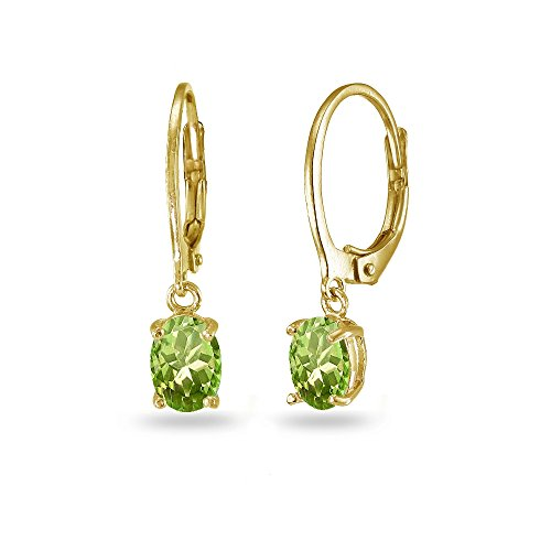 LOVVE Yellow Gold Flashed Sterling Silver Peridot 7x5mm Oval Dangle Leverback ()