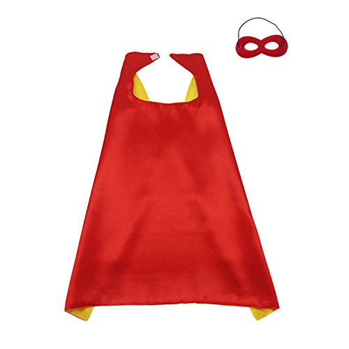 70CM X 70CM Reversible Superhero Cape+Eye Mask Halloween Costume for Kids, Adult, Men, Women, Red&Yellow
