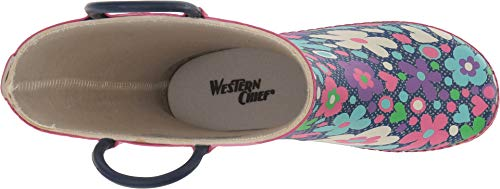 Western Chief Kids Baby Girl's Limited Edition Printed Rain Boots (Toddler/Little Kid) Precious Petals Denim 12 M US Little Kid M by Western Chief (Image #1)