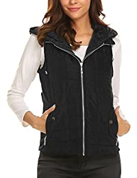 Women's Outwear Lightweight Packable Puffer Down Winter Warm Vest Coat With Detachable Hood