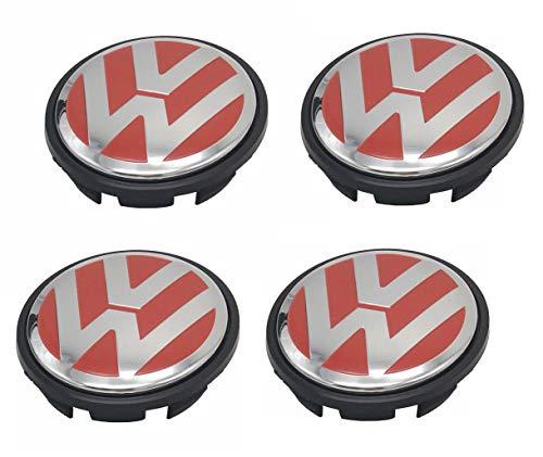 Lingyi Wheel Center Hub Caps 65mm Wheel Hub Cover Replacements Logo Badges Emblems for VW P/N:3B7 601 171, Red,4pcs