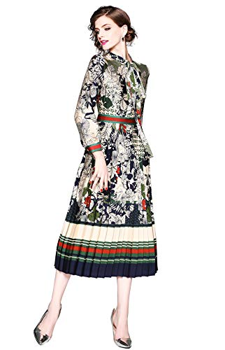 omen's 3/4 Sleeve Floral Print Button up Casual A-line Party Swing Midi Dress ()