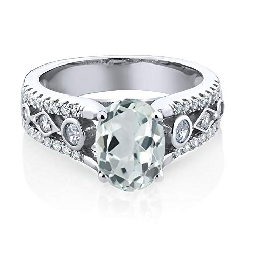 Gem Stone King 925 Sterling Silver Sky Blue Aquamarine Women's Engagement Ring 1.66 Center Stone: 8x6mm Oval (Available 5,6,7,8,9)