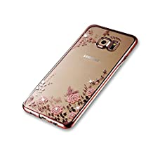 Samsung Galaxy S6 Edge Case [with Free Screen Protector], Funyee Electroplate Frame Shockproof Transparent Flowers Crystal (Rose Gold) Bumper Silicone TPU Gel Bling Rhinestone Rubber Soft Back Case Cover (Pink Flower) for Samsung Galaxy S6 Edge