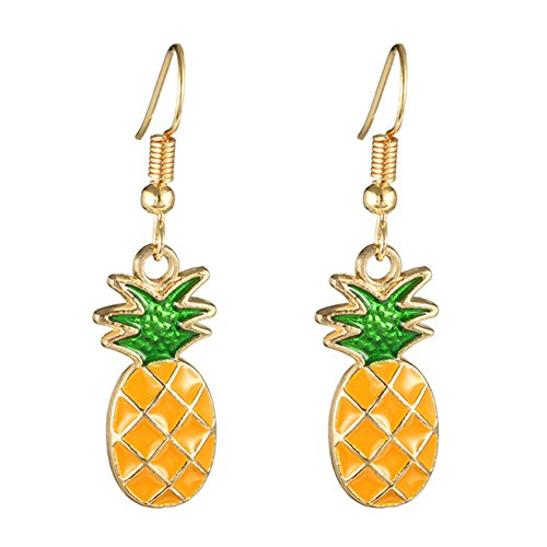 18K Gold Plated Sweet Fruit Green Leaf Yellow Pineapple Charm Women Girls Dangle Earring