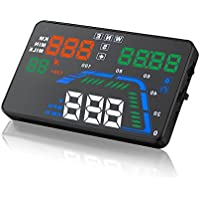 SEANFAR Q7 Head Up Display HUD OBD2 Windshield Universal Car GPS 5.5 HUD Dashboard Vehicle-Mounted Projector with Over Speedometer Kmh/ MPH Speed Alarm Fuel Consumption Multicoloured Colorful