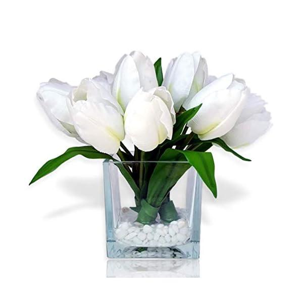 Basik Nature Artificial Flowers Tulip Floral Arrangement in Vase – Tulips Artificial Silk Flowers for Decoration (White)
