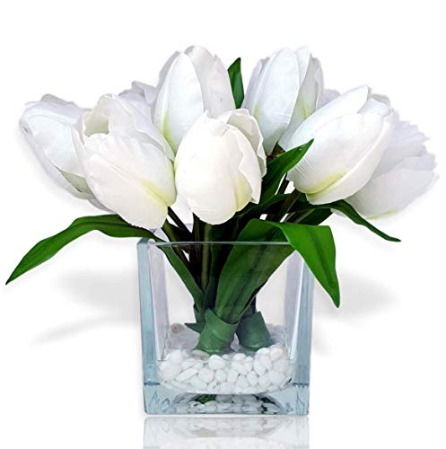 Basik Nature Artificial Flowers Tulip Floral Arrangement in Vase - Tulips Artificial Silk Flowers for Decoration (White) (Flowers With Vase Artificial Glass)