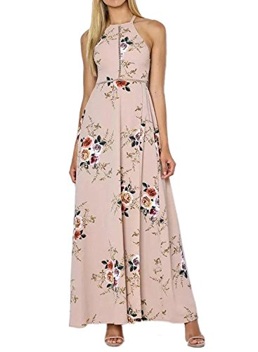 Maxi ZESICA Split Halter Dress Neck Beach Backless Floral Pink Print Party Women's grCqnwzgH