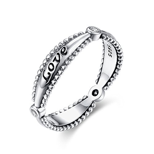 Tongzhe 4mm Love Wedding Lace Band Ring in Antique Sterling Silver 925 with Red Cubic Zirconia US Size 8 by Tongzhe (Image #6)'