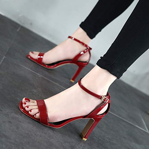 Heel One Toe Parkour Grey 9Cm Buckle Summer Sandals Simple Commuting High KPHY Skin Heel Sandals Toe Lacquer IwqdnBI6