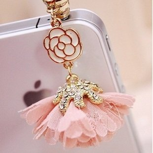 CJB Dust Plug / Earphone Jack Accessory Pink Camellia for iPhone 5 All Device with 3.5mm Jack (US Seller)