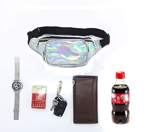 Gogoxm Womens Fanny Pack Waist Bag Water Resistant Chest Bags Holographic Waist Pack Glitter for Running Rave Festival Party Silver by Gogoxm (Image #1)