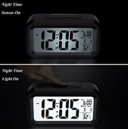 HeQiao LED Clock Slim Digital Alarm Clock Large Display Travel Alarm Clock with Calendar Battery Operated for Home Office (Temperature Display, Snooze Function, Smart Back-light) Black