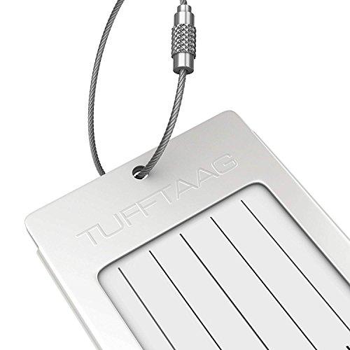 Luggage Tag Business Card Holder TUFFTAAG SINGLE Travel ID Bag Tag - Silver