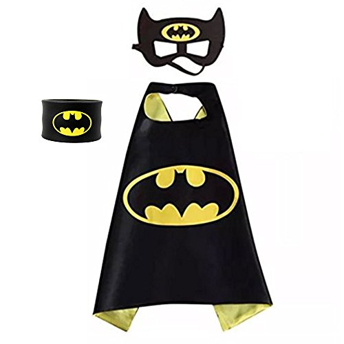 Children Super Hero Cape and Mask for Boys, Costume for Kids Birthday Party, Pretend Play, Dress Up ()