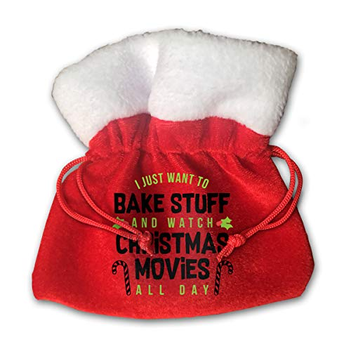 CYINO Personalized Santa Sack,I Just Want to Bake Stuff and Watch Christmas Movies All Day Portable Christmas Drawstring Gift Bag (Red)