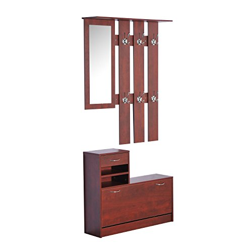 New Coffee 2pc Entryway Hall Coat Rack Shoe Storage Bench Organizer Cabinet Shelf w/ Mirror by totoshop