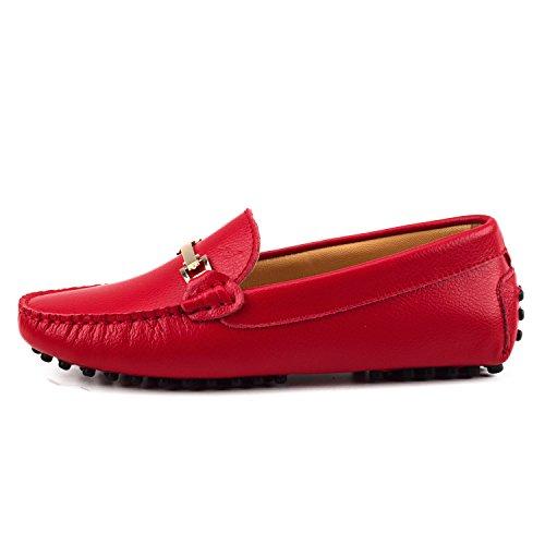 La Modeuse - Mocasines para mujer, rojo (rojo), 37