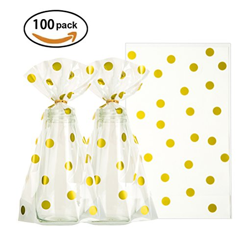 Clear Cello Bags 6x10 inch for Treat Candy Cookie Party Favor Bags, Gold Dot, Pack of (Wedding Cello Bags)