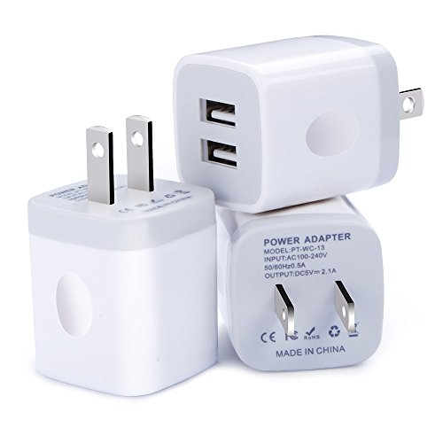 USB Wall Charger, HopePow 3-Pack USB 5V/2.1A Home Travel Wall Charger Dual Port Plug for iPhone 7 / 7 Plus / 6s / 6s Plus, iPad, Tablet, Samsung, HTC, LG, iPod, Nokia