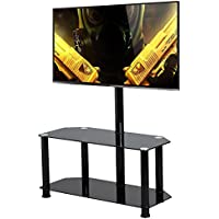 Topeakmart Large Swivel TV Stand with Mount 2 Tier Black Glass Shelf for 60 Inch Flat Screens TV